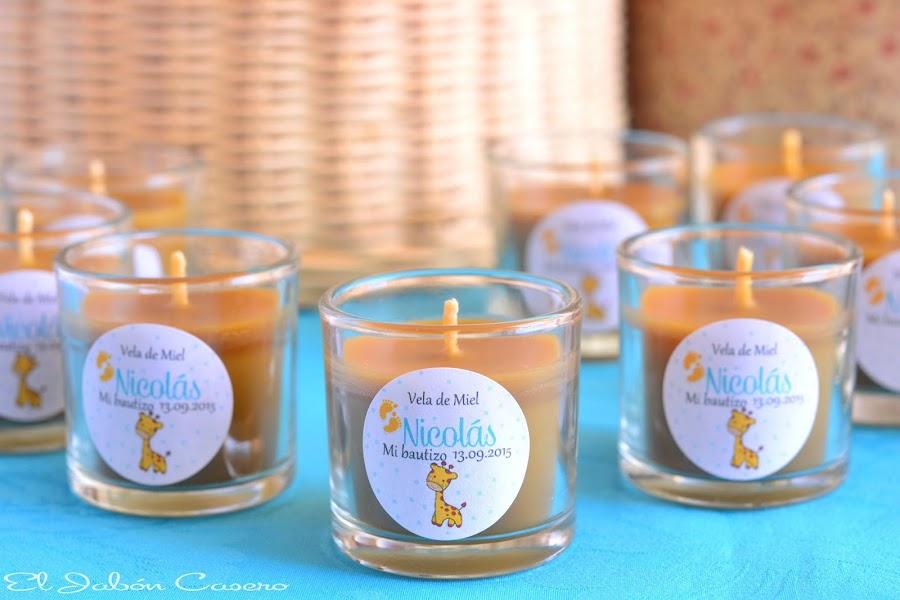 detalles de bautizo velas de miel