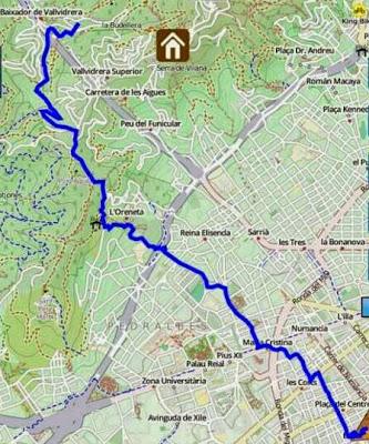Route from Barcelona to Panta de Vallvidrera