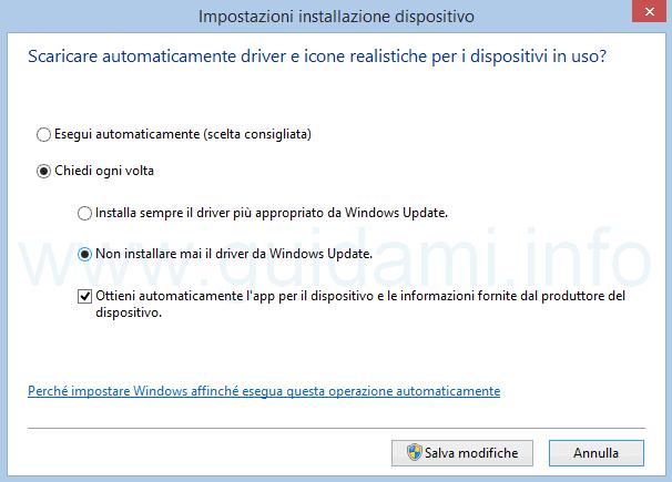 Disattivare installazione driver da Windows Update