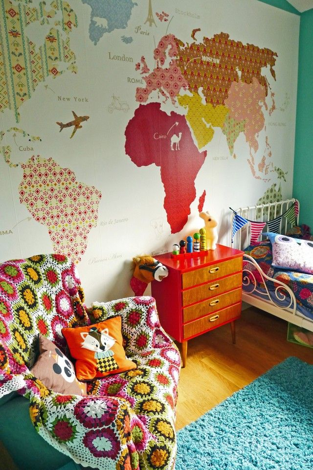 Mad for mid century vintage wallpaper world map for travel nursery i have seen images of this quilt inspired vintage looking world map wallpaper around a few places pinterest if im honest but i cant find the source gumiabroncs Choice Image
