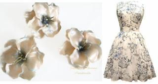 Прозрачни цветя от полимерна глина в съчетание с рокля