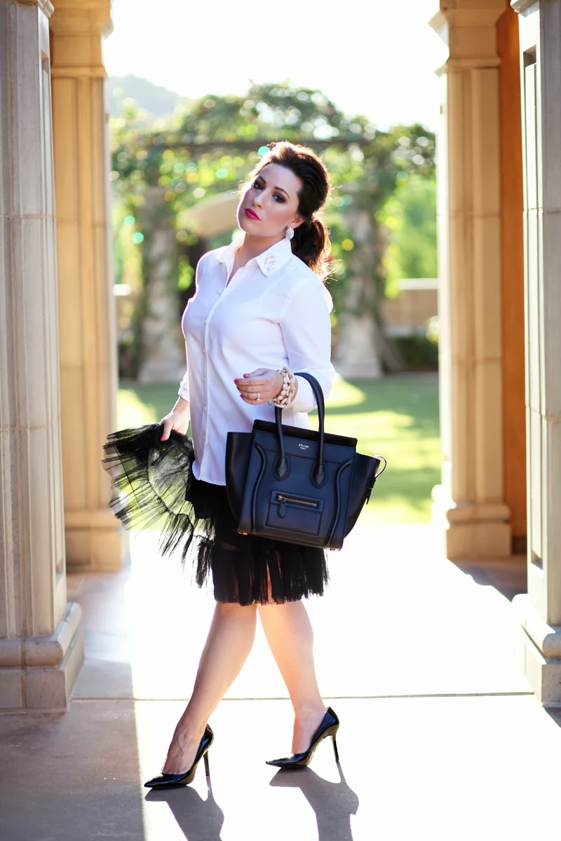 san-diego-fashion-blogger-new-years-2014-anthropologie-tulle-skirt-nine-west-pointy-pumps-celine-bag-mac-girl-about-town-lipstick