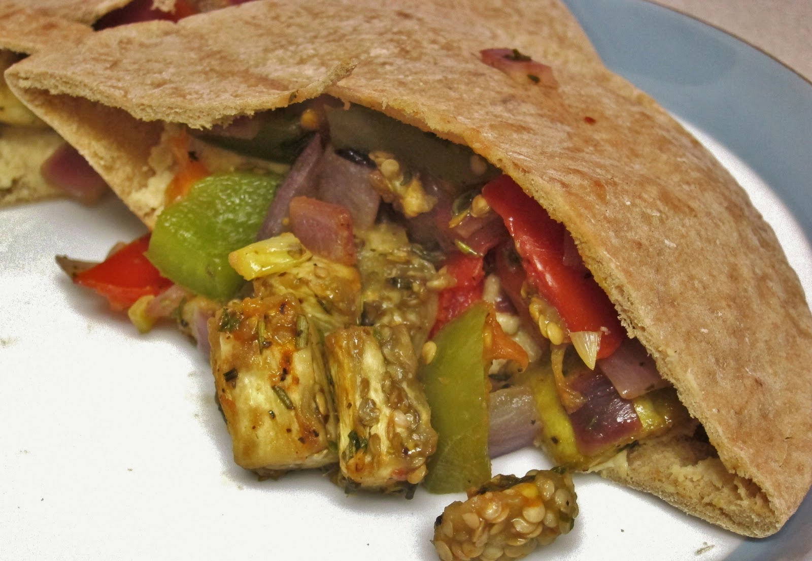 The Vegan Chronicle: Hummus-Stuffed Pita with Roasted Vegetables