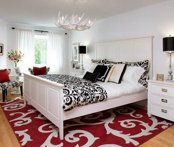 dormitorio matrimonial rojo, blanco y negro