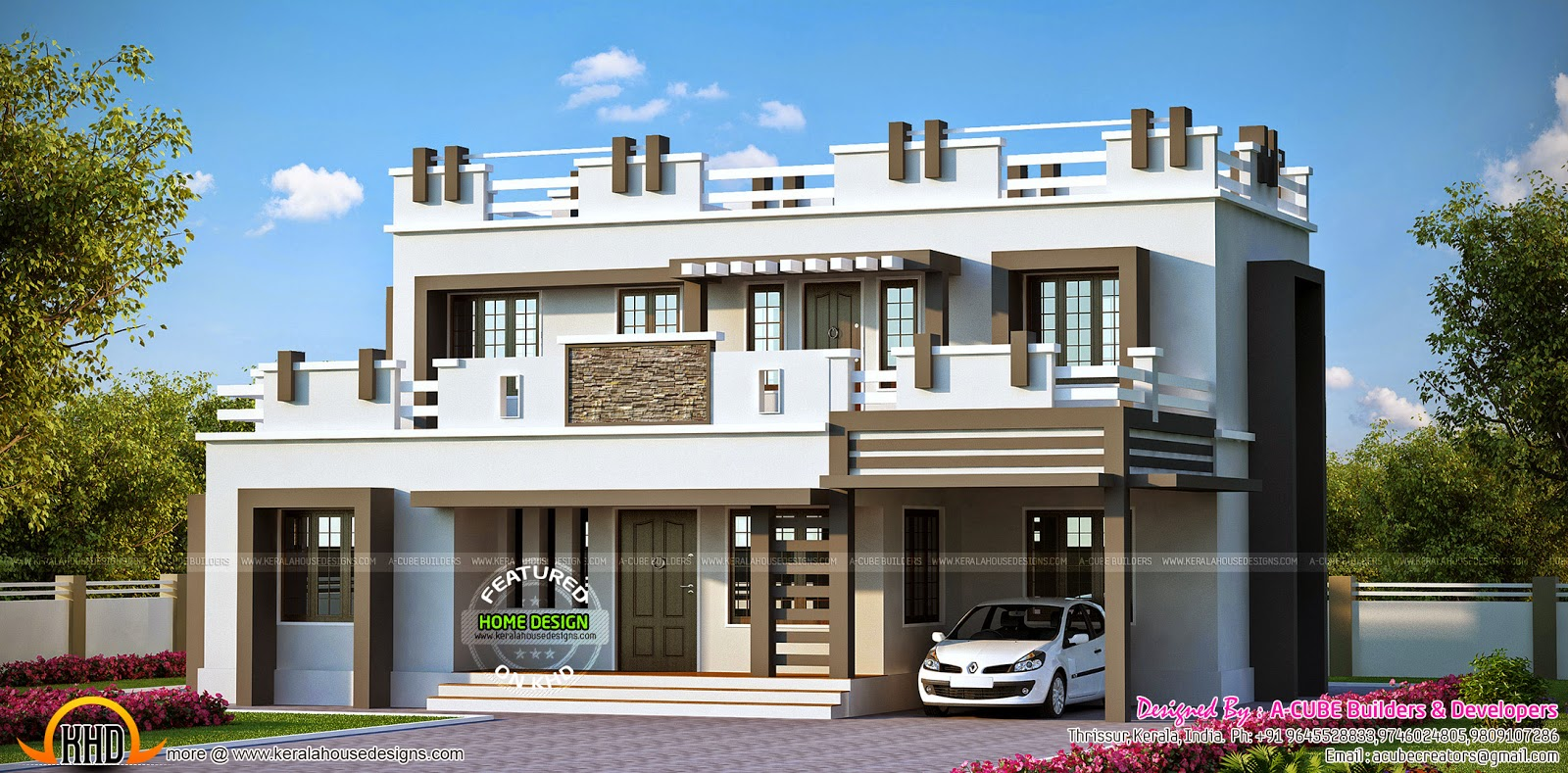 Flat roof decorative element home kerala home design and for Flat roof house plans kerala