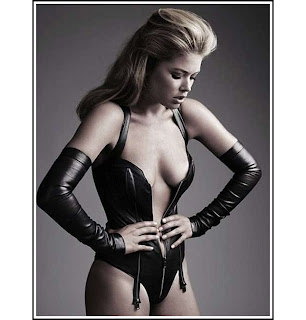 Doutzen Kroes hot black leather Victoria's Secret supermodel opera gloves teddy zipper garter HD HQ photo