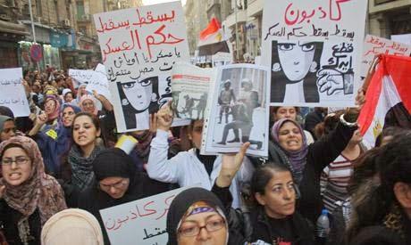 Marcha de mujeres en El Cairo, diciembre de 2011