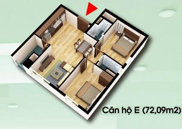 Căn hộ loại E - Chung Cư D2 CT2 Linh Đàm diện tích 72.09 m2