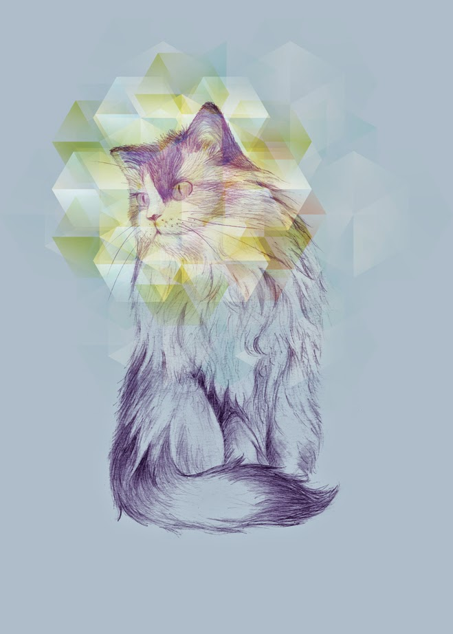 digital, cat, illustration, 3dstudio