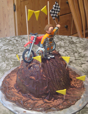 Motocross Dirt Bike Racing Cake - Angled View