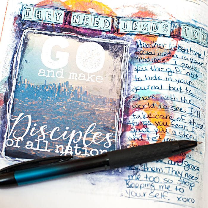 Heather Greenwood Designs | Matthew 28:19-20 art journaling in my Bible #mixedmedia #illustratedfaith #journalingbible