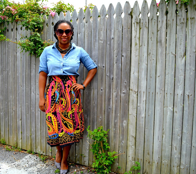 thrifted outfit with denim paisley and ballet flats