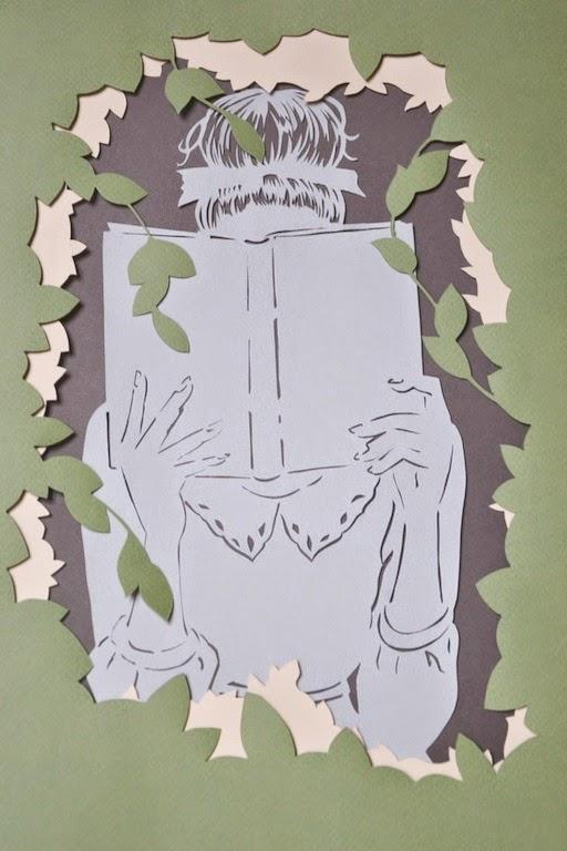il piacere della lettura, illustrazione in paper cut realizzata a mano