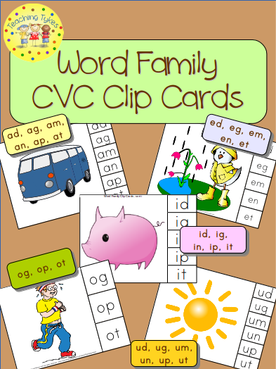 https://www.teacherspayteachers.com/Product/CVC-Word-Family-Clip-Cards-Bundle-Common-Core-Aligned-928518