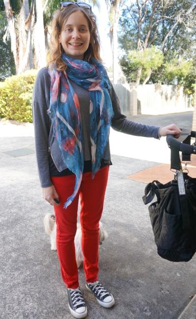 printed scarf grey zip hem tee red skinny jeans converse playdate outfit