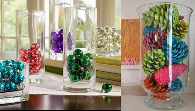 Decoracion Jarrones De Navidad ~ bambalinas en un jarr?n de cristal se consigue un r?pido centro de