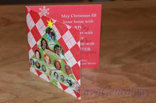 простая самодельная рождественская открытка с фамильным деревом