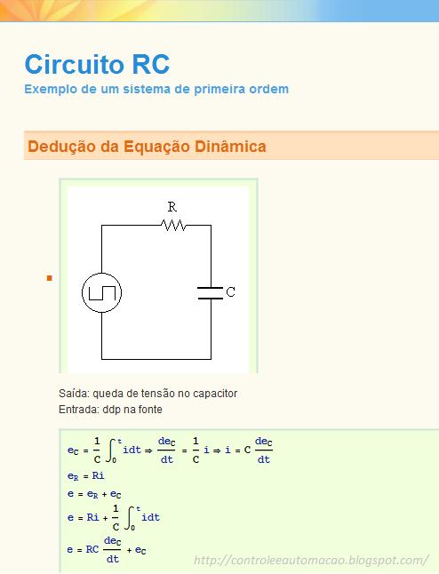 Circuito Rc : Controle e automação circuito rc