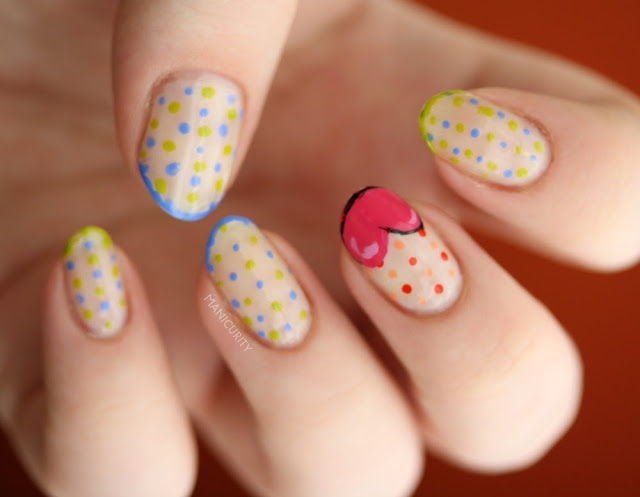 Manicurity | Cutesy Wootsy Polka Dotty + heart accent