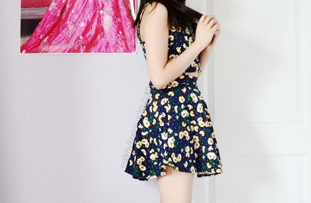 SheIn's floral suspender cutout skater dress is amazing in both fit and style, perfect for a cute summer outfit.