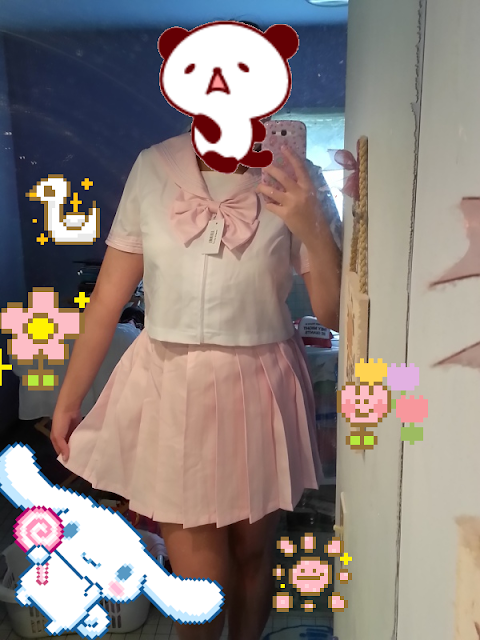 pizza-kei cute pizza kei cute bodyline japan seifuku sailor uniform summer short sleeve sleeved pink lilac pastel kawaii review pleated skirt japanese fashion