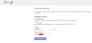 kode verifikasi google lewat hp