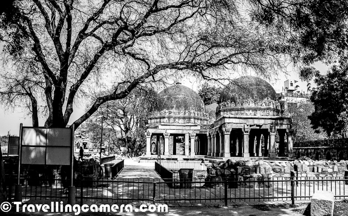 Last weekend, we had a meeting at Hauz Khas with some of the old friends and thought of exploring the ruins around Hauz Khas Village Market. This Photo Journey will take you through various ruins around this campus and a huge water tank or Lake. Let's start this Black and White Photo Journey...In the 1980s Hauz Khas Village was developed as an upper class residential cum commercial area in the metropolis of South Delhi, India. It is now a relatively expensive tourist cum commercial area with numerous art galleries, upscale boutiques and restaurant. Swans and ducks are among the attractions at Hauz Khas Lake - which is part of the attraction to visitors. During this recent visit to Hauz Khas Village, we saw various other birds around the lake. We shall be sharing a separate Photo Journey on birds from Hauz Khas Lake in South Delhi !!!Three pavilions inside the Tomb ... Hauz Khas Village has notable structures built by Firuz Shah on the eastern and northern side of the reservoir consisted = Madrasa (Islamic School of Learning), the small Mosque, the Main tomb for himself and six domed pavilions in its precincts...This Photograph shows North-South arm of the Madrasa and Mosque overlooking the reservoir...Hauz Khas Village Complex in South Delhi houses a water tank, an Islamic seminary, a mosque, a tomb and pavilions built around an urbanized village. It was part of Siri, the second medieval city of India of the Delhi Sultanate of Allauddin Khilji Dynasty (1296–1316). The etymology of the name Hauz Khas in Urdu language is derived from the words 'Hauz': 'water tank' (or lake) and 'Khas':'royal'- the 'Royal tank'. The large water tank or reservoir was first built by Khilji to supply water to the inhabitants of SirThe Hauz Khas village which was known in the medieval period for the amazing buildings built around the reservoir drew a large congregation of Islamic scholors and students to the Madrasa for Islamic education. A very well researched essay titled 'A Medieval Cen