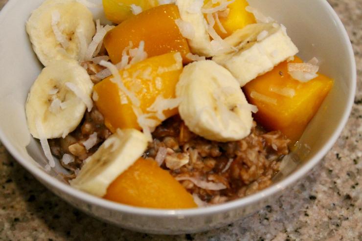 Vegan Chocolate, Banana & Mango Porridge