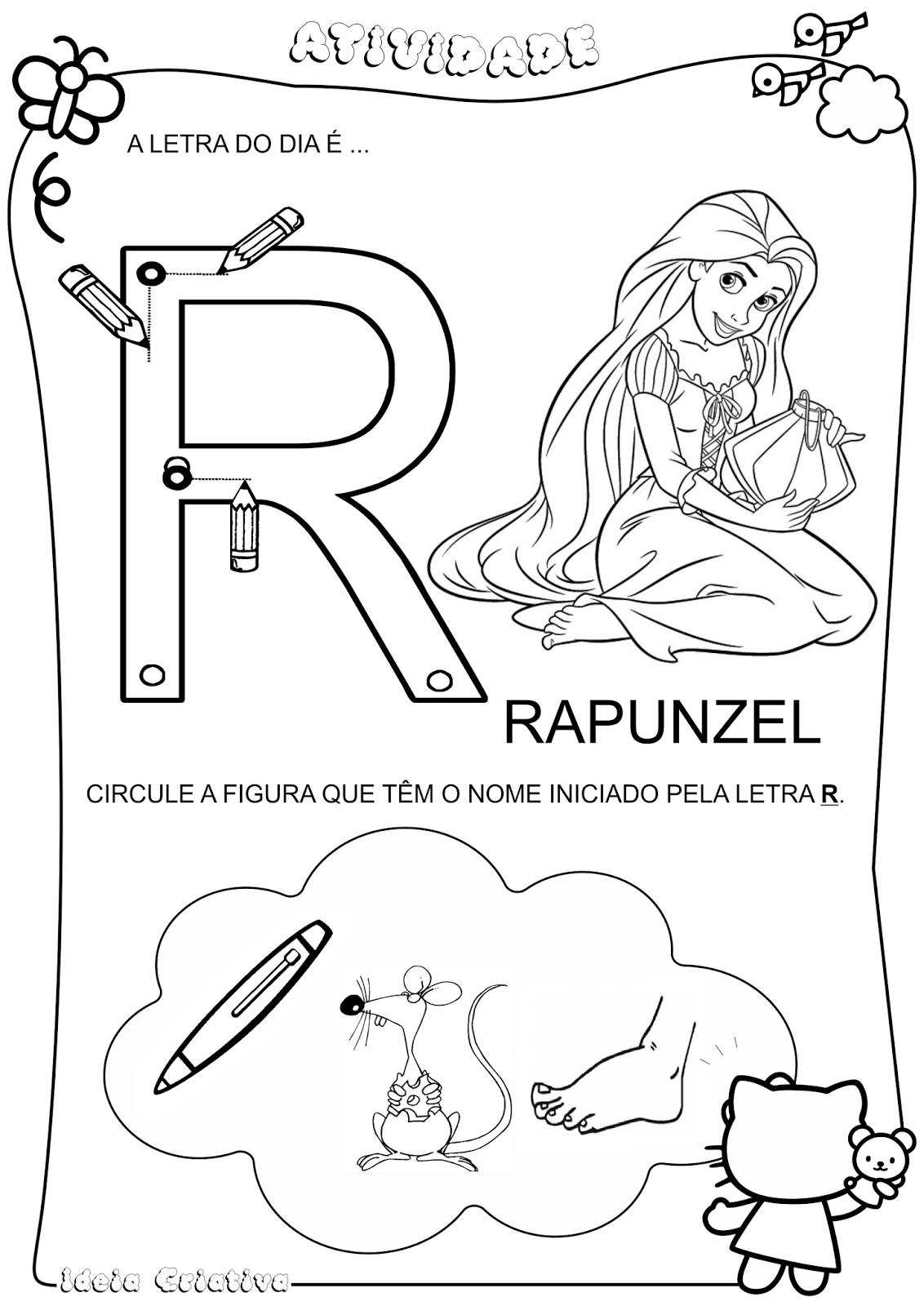 Atividade Letra R Personagem Rapunzel do Filme Enrolados