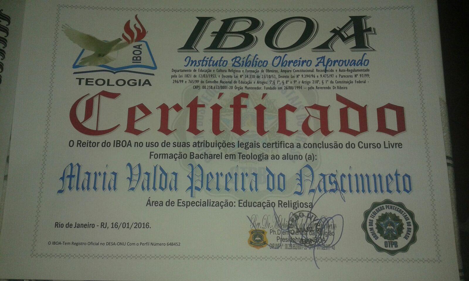 CERTIFICADO DO IBOA