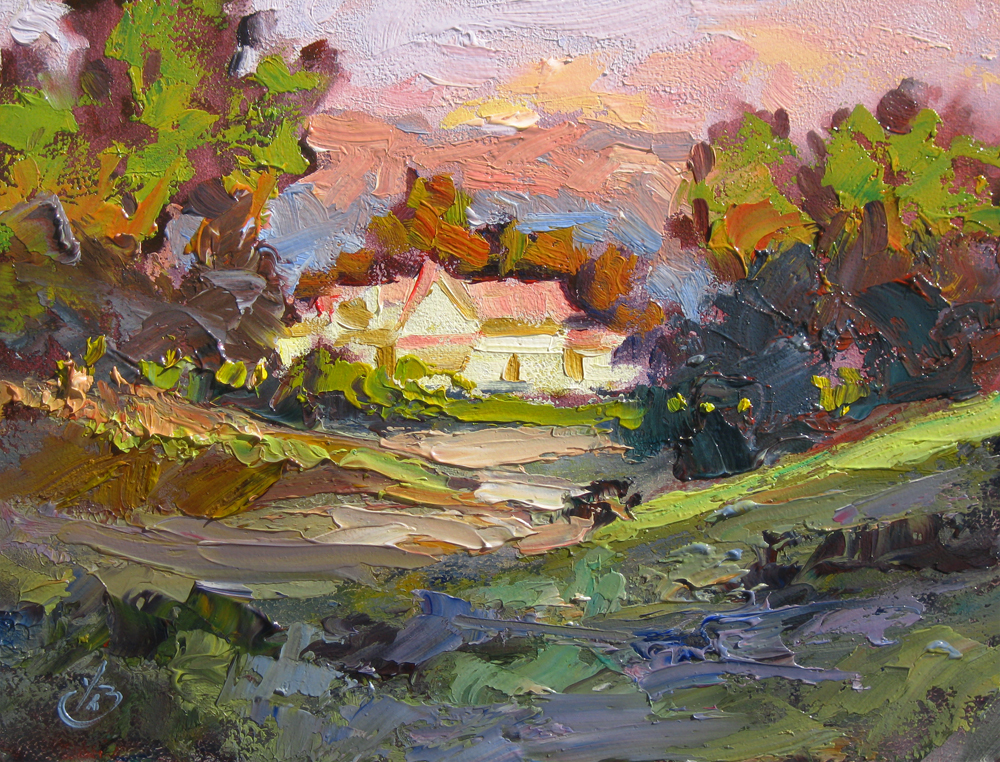 Tom brown fine art house colorful sunset impressionist for Oil paintings for the home