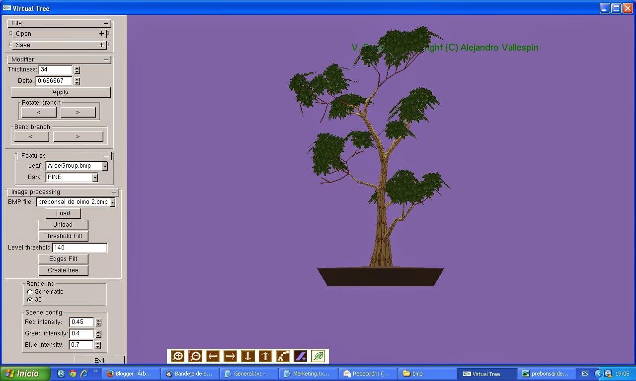 primer paso modelado 3D de bonsai creado con virtualBonsai