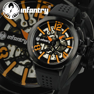 New 6Color Infantry Royal Mens Hand-Winding Mechanical Skeleton Wrist Watch +Box