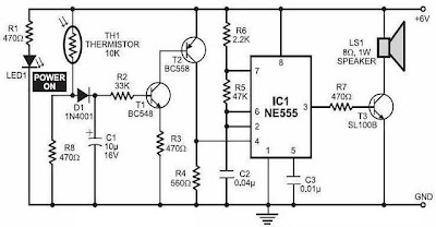 latest Simple Fire Alarm with Thermistor and NE555 circuit schematic ...