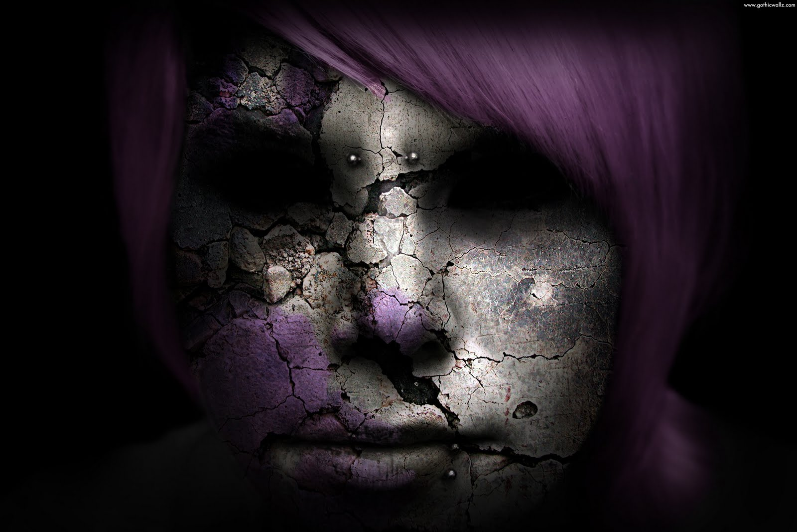 Dark Girl Cracked Face | Dark Gothic Wallpaper Download