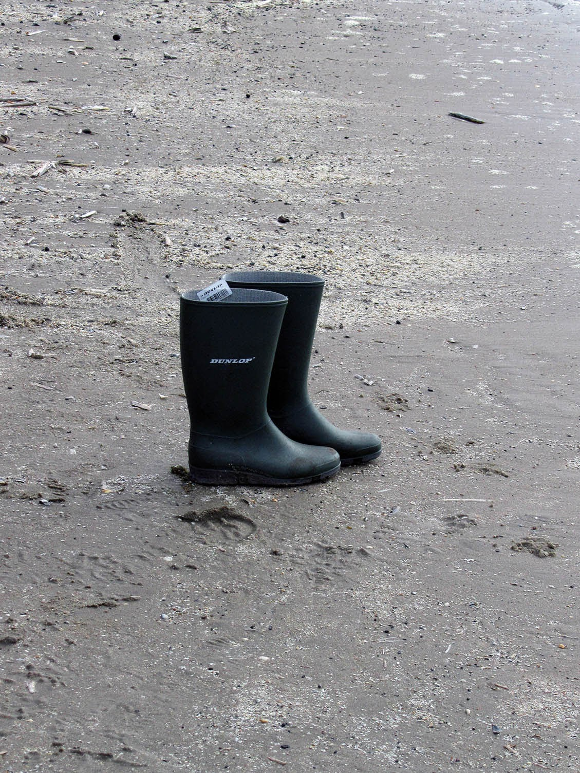 simplicity: two boots on the beach
