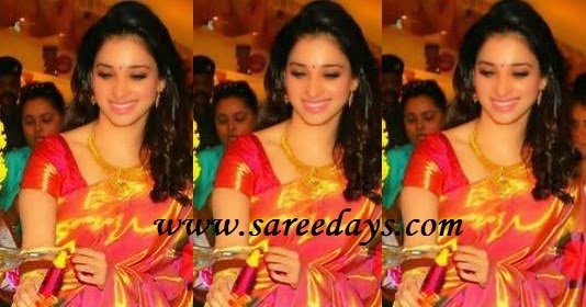 Latest saree designs tamanna in red traditional silk saree thecheapjerseys Images