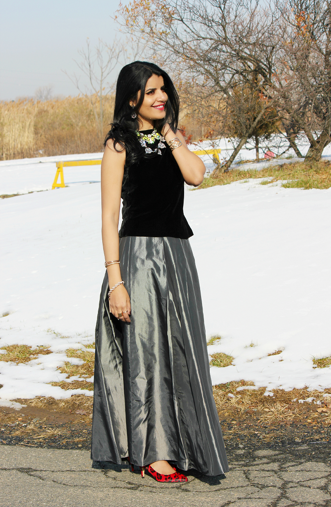Holiday Outfit Ideas, U By Kotex Trends To Try, What To Wear In A Christmas Party, Holiday Party Outfits, Floor Length Skirts, Taffeta Skirts