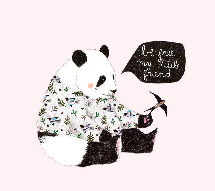 panda bear and bird illustration by Daniela Dahf henriquez