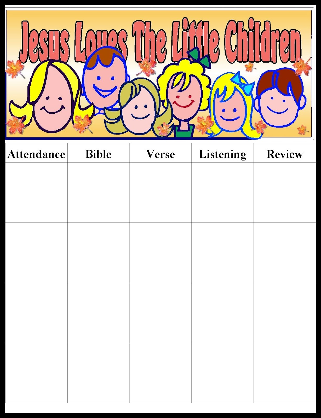 It's just a graphic of Shocking Sunday School Attendance Chart Free Printable