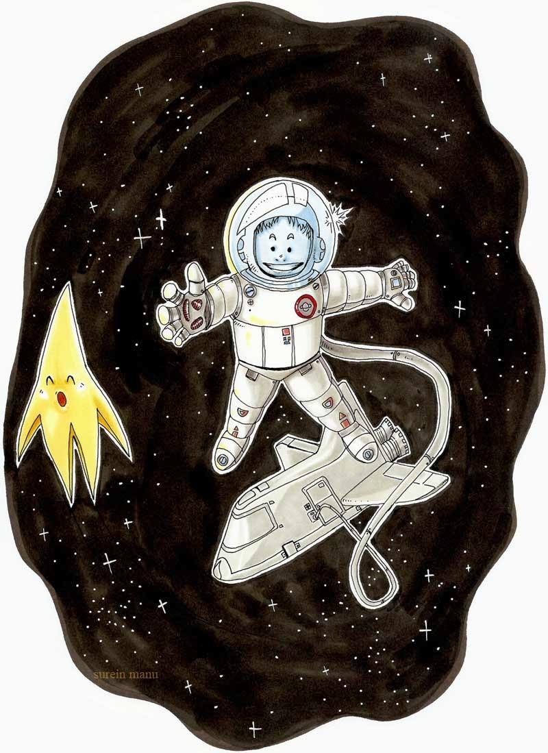 astronaute aux feutres de surein