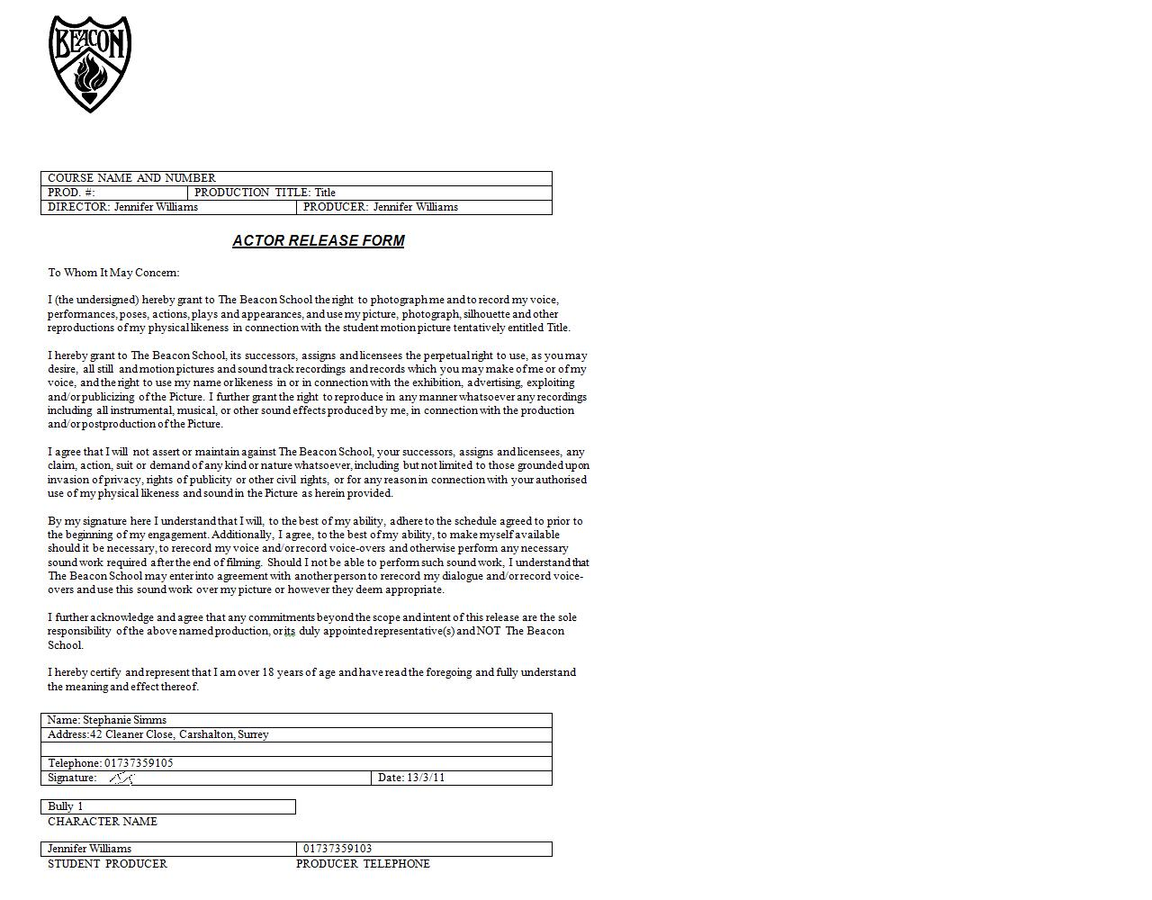 PreProduction – Actor Release Forms