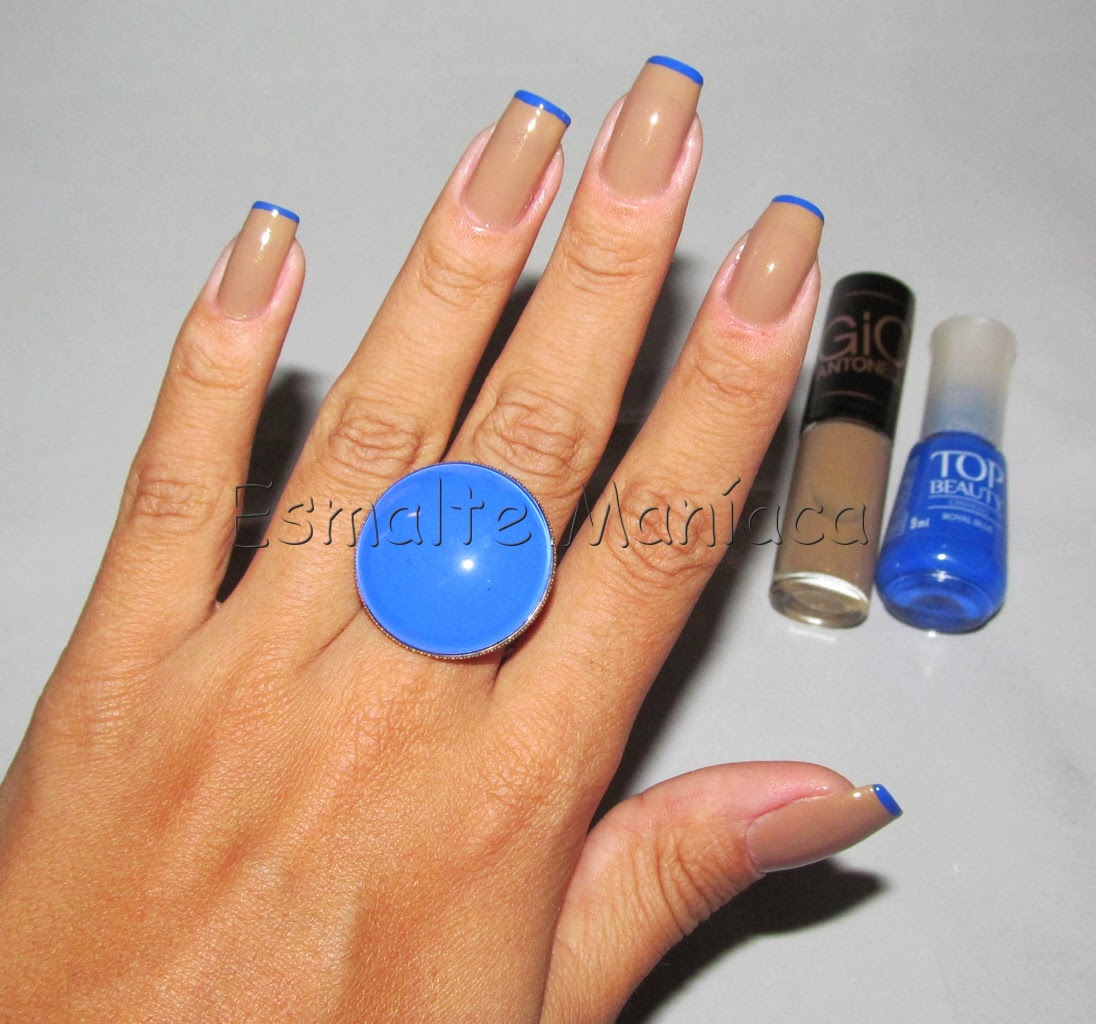 Esmaltemaníaca: Inglesinha: Nude Com Ponta Azul