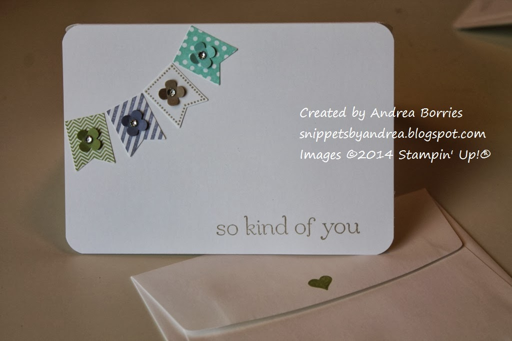 "Simple thank-you note card with a mini banner and the greeting ""so kind of you."""