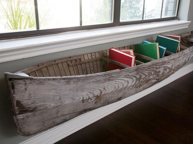 Nautical Decorating ideas Boat shelf for books, Joanna Gaines unconventional Art