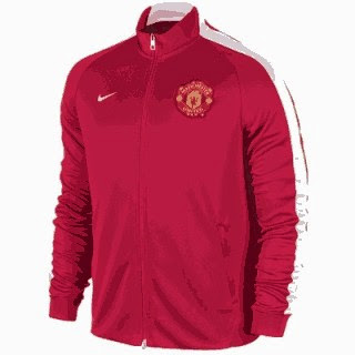 jual online jaket bola, jaket manchester united home, warna merah, grade ori, made in Thailand