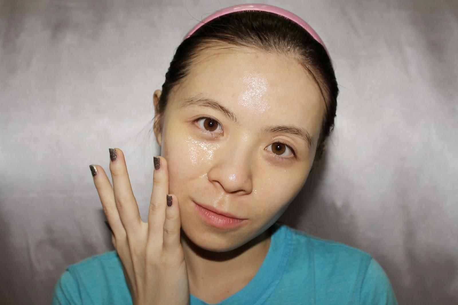 Girl applying skincare