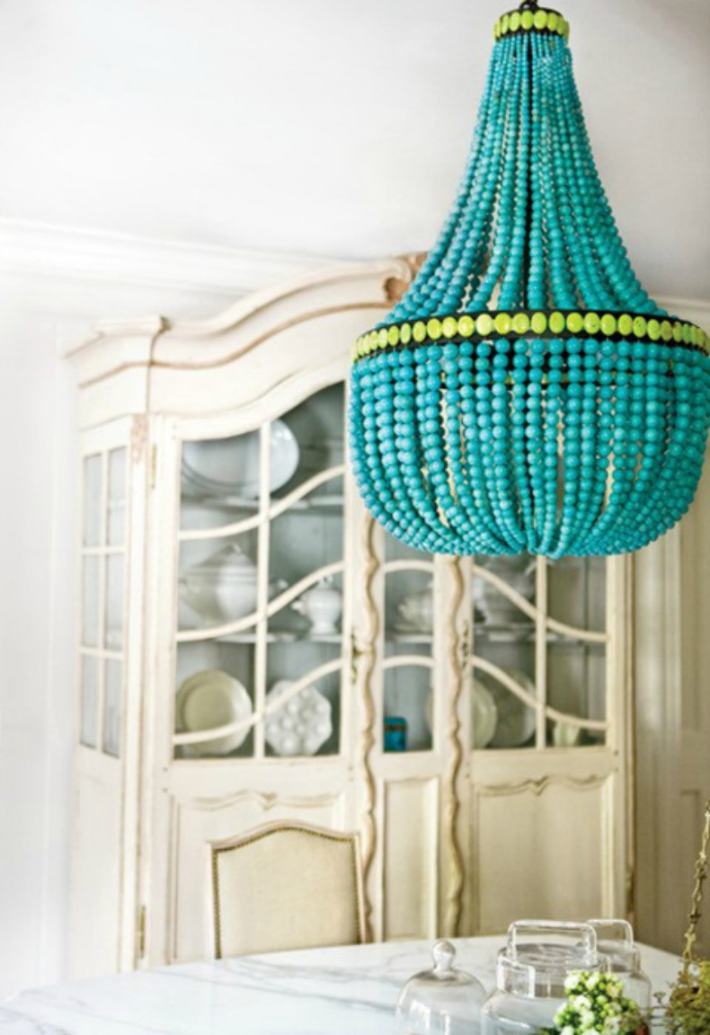 Bright aqua coastal chandelier