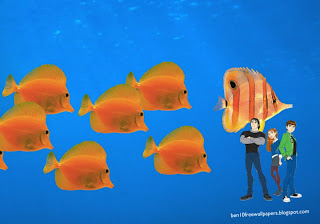 Ben 10 desktop Wallpapers Gwen Kevin Friends in Aquarium with Fishes desktop wallpaper