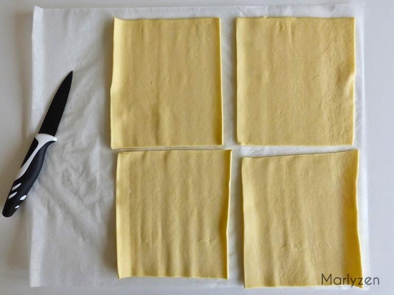 Coupez 4 rectangles de pâte feuilletée.